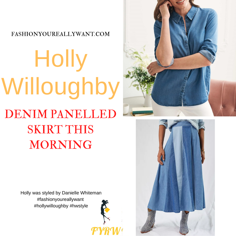 Where to get all Holly Willoughby This Morning outfits dresses blog October 2021 denim panelled skirt denim shirt nude suede court shoes