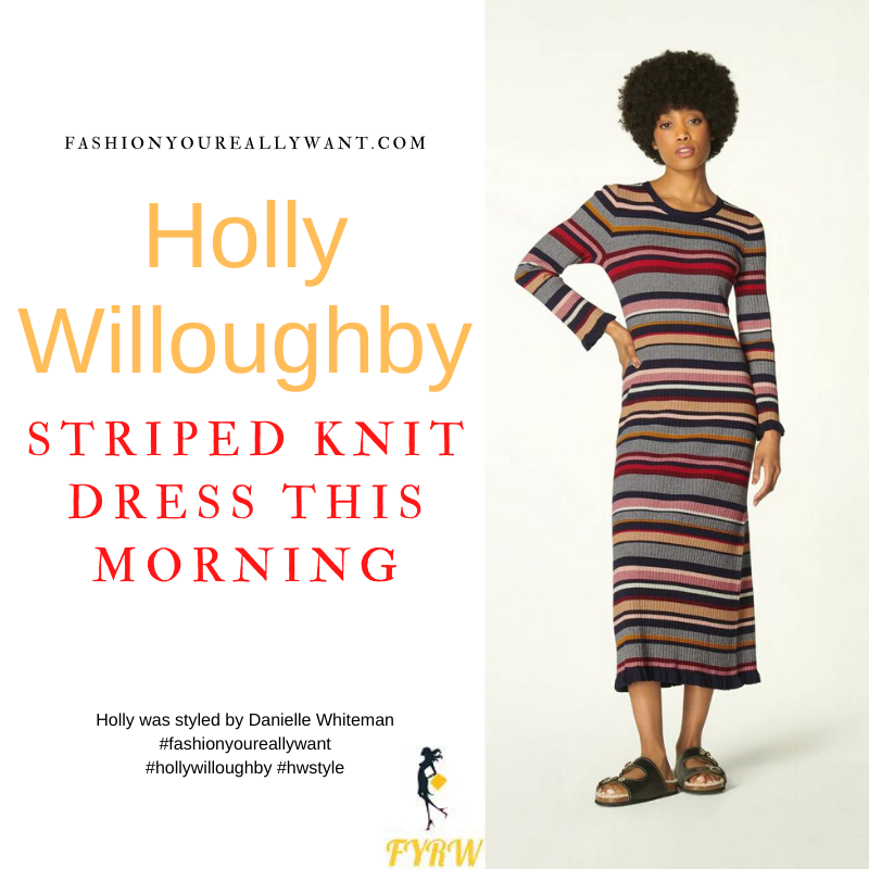 Where to get all Holly Willoughby This Morning outfits dresses blog October 2021 grey multi stripe knitted dress black suede court shoes