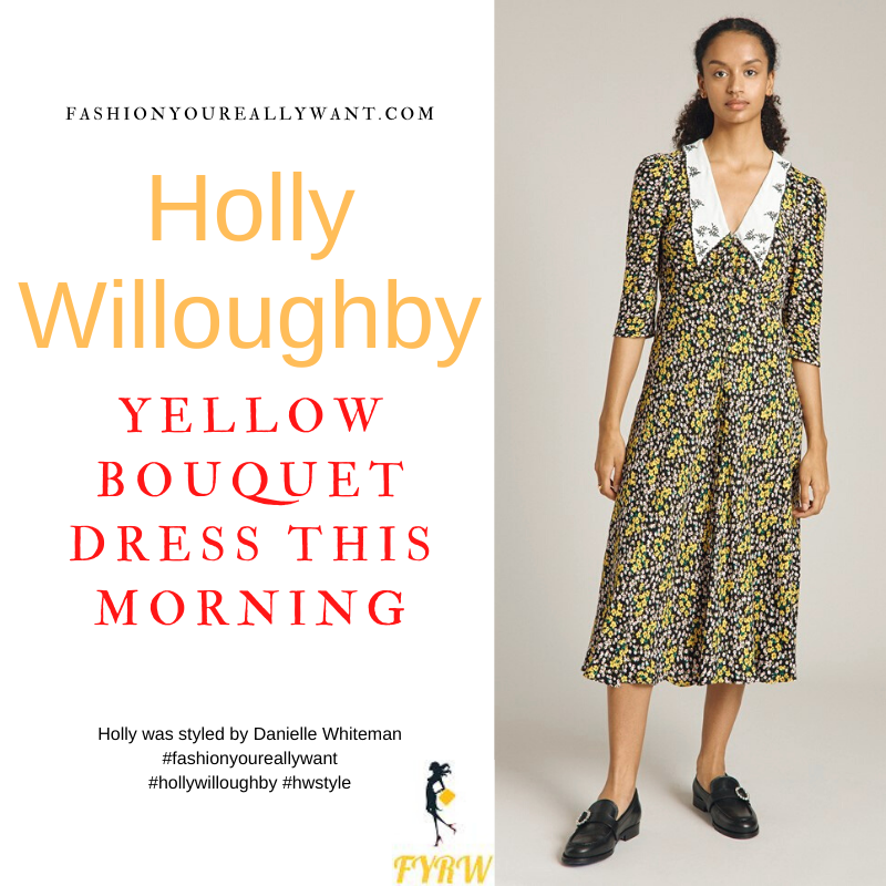 Where to get all Holly Willoughby This Morning outfits dresses blog October 2021 yellow and black floral midi dress with white collar black suede court shoes