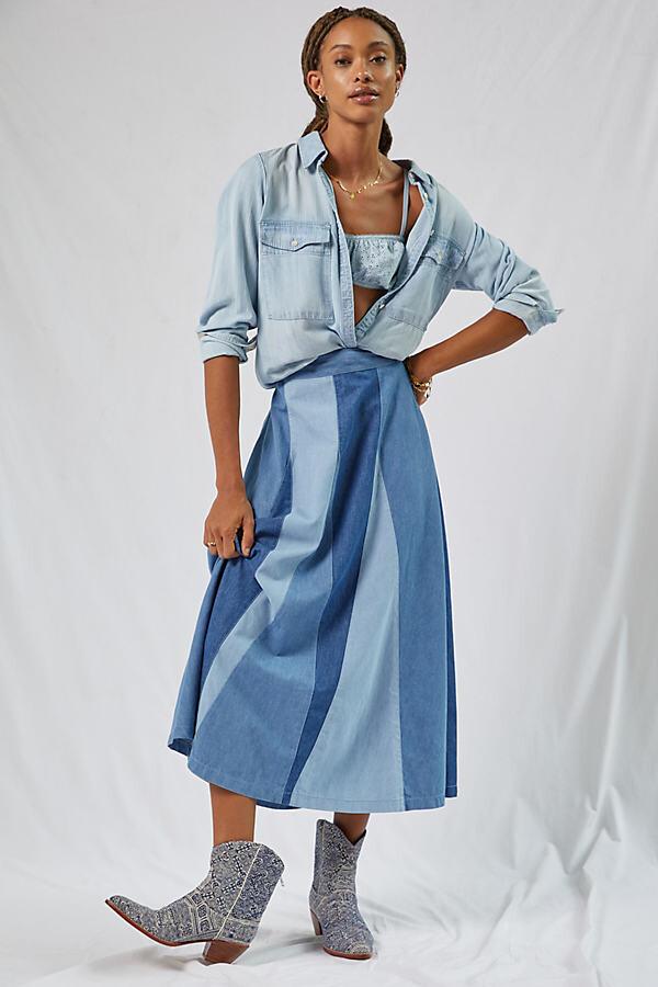 Love The Label Colourblocked Denim Midi Skirt