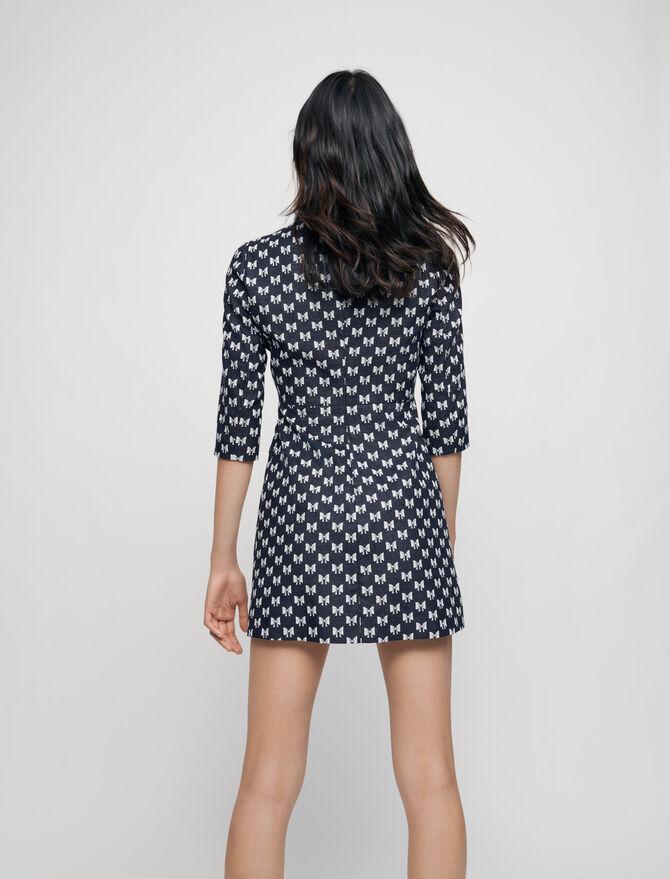 Maje Jacquard Dress With Bow Pattern back view