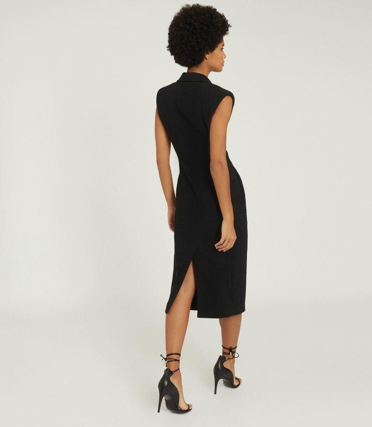 Reiss Cecile Tuxedo Sleeveless Midi Dress back view
