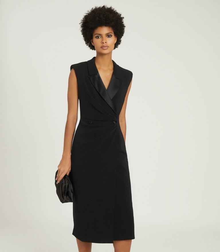 Reiss Cecile Tuxedo Sleeveless Midi Dress