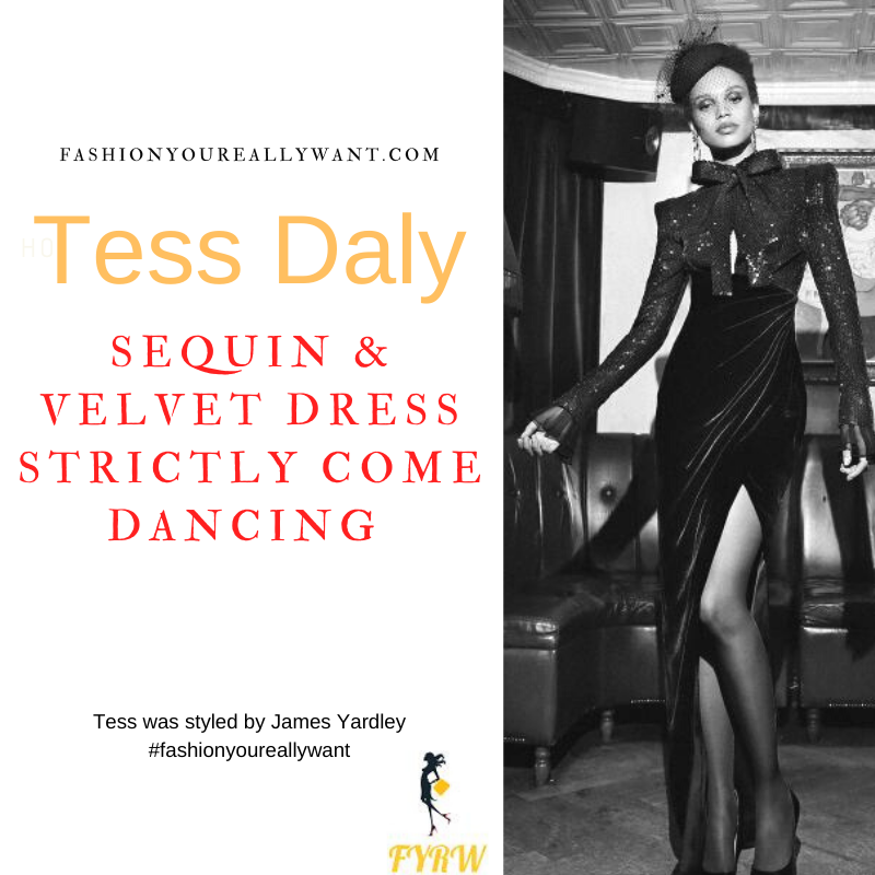 Tess Daly Strictly Come Dancing Week 2 October 2021 where to get her outfits black sequin and velvet split dress with bow black sandals
