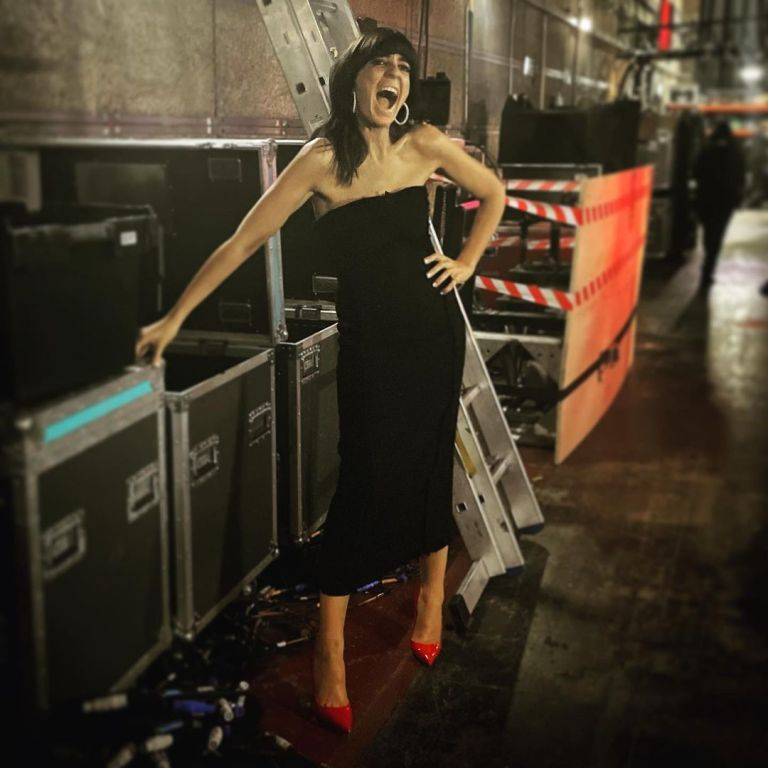 where to get all Claudia Winkleman Strictly dresses black textured strapless dress red court shoes 9 October 2021 Photo Sinead McKeefry