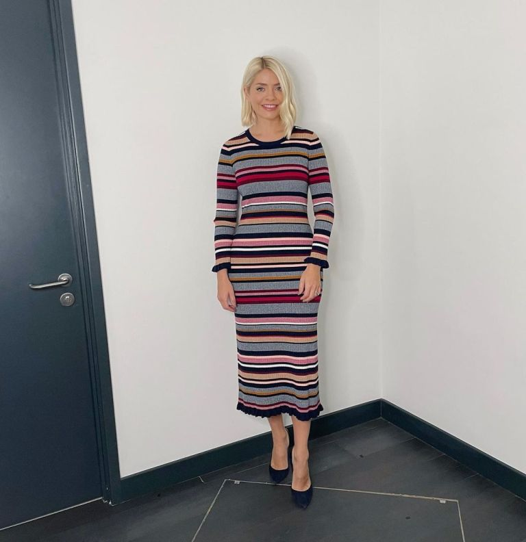 where to get all Holly Willoughby This Morning dresses grey striped knit dress black suede court shoes 13 October 2021 Photo Holly Willoughby
