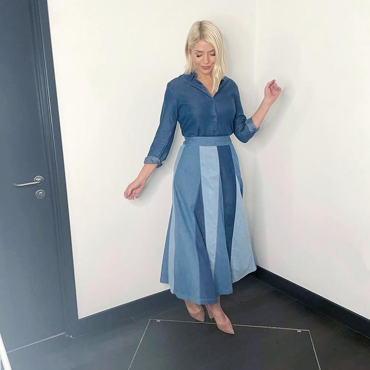 where to get all Holly Willoughby This Morning outfits blue denim panelled skirt denim shirt nude suede court shoes 12 October 2021 Photo Holly Willoughby