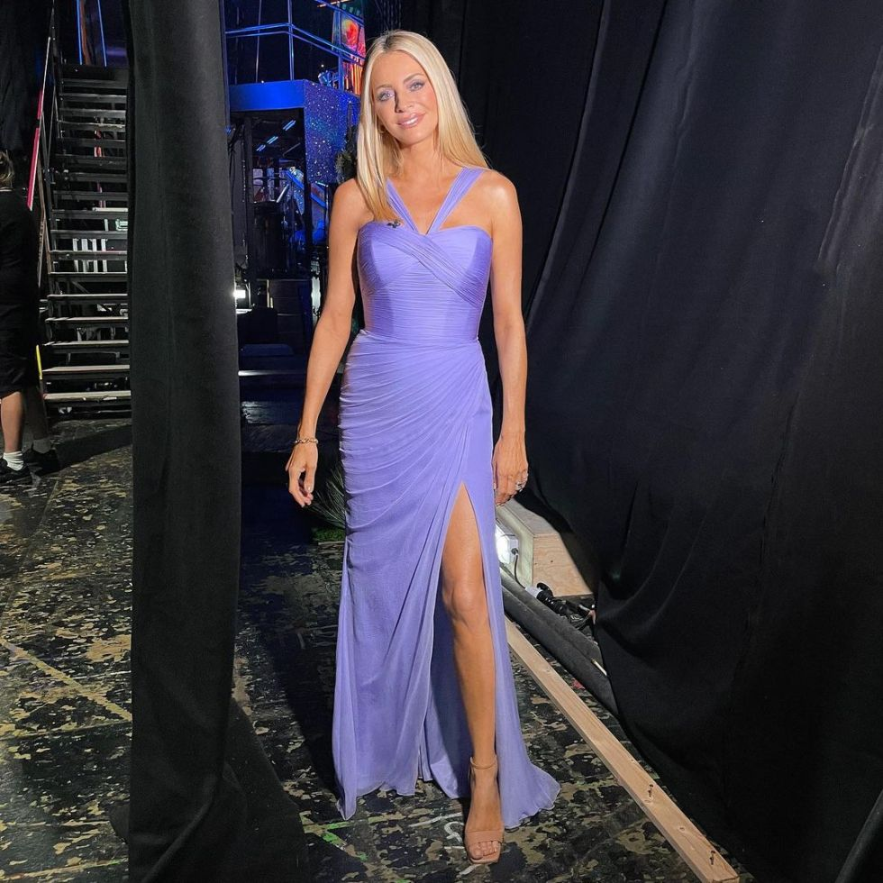 where to get all Tess Daly Strictly dresses lilac pleated gown nude suede sandals 9 October 2021 Photo Tess Daly