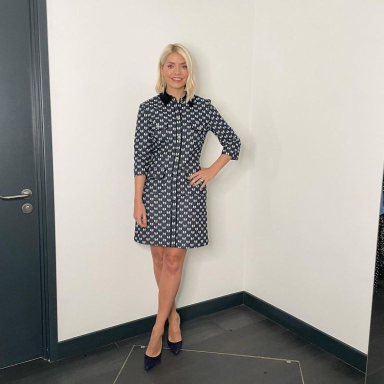 where to get ll Holly Willoughby This morning dresses navy mini drss with bow pattern black suede court shoes 11 October 2021 Photo Holly Willoughby