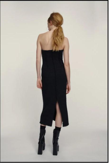 Zara Textured Dress black back view